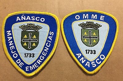 Puerto Rico Police Patch...office Of Emergency Management (Two Different) Añasco
