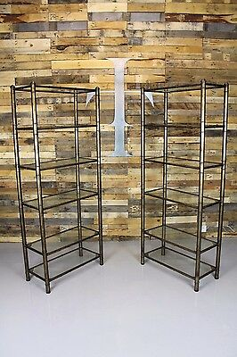 Pair Of Mid Century Hollywood Regency Faux Bamboo Contemporary Etagere Bookcases