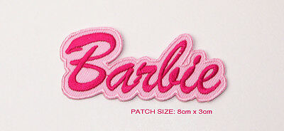 BARBIE Classic Doll Logo Patch Embroidered Iron-On Patches - NEW