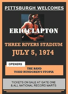 Eric Clapton / The Band / Todd Rundgren - 3 Rivers Stadium Laminated Poster 1974