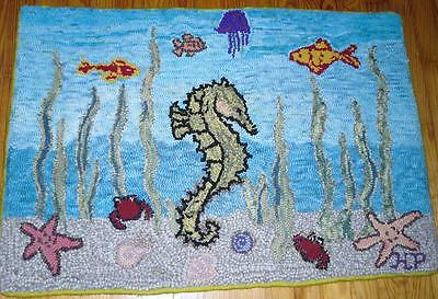 Primitive Style Hand Hooked Wool Rug-Seahorse And Friends