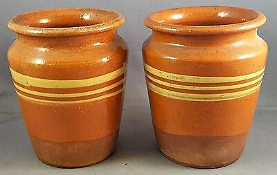 """Pair of Vintage REDWARE POTTERY POTS 4 ½"""" Tall Persimmon Color NR"""