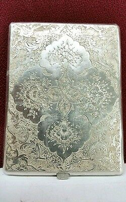 Antique Decorated 19th century Persian Sterling silver Cigarette Case