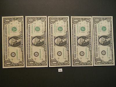 5 - $1 Dollar 1981A Federal Reserve Notes in Sequence