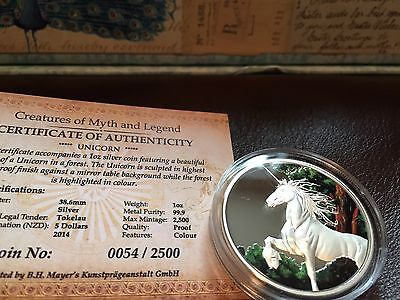 2014 Tokelau $5 Dollar Unicorn 1 oz Silver Coin