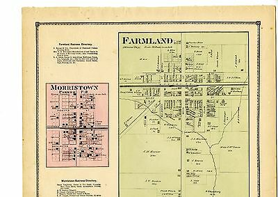 1874 Map of Farmland and Morristown, Indiana, from Atlas of Randolph County