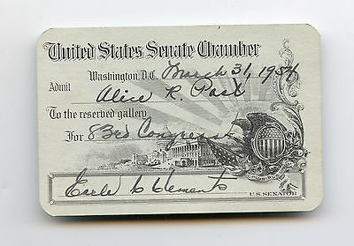 United States Senate Chamber Pass Mar 31, 1954 Earle C Clements Kentucky.