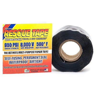 RESCUE TAPE Self-Fusing Emergency Repair Tape, Black, Silicone