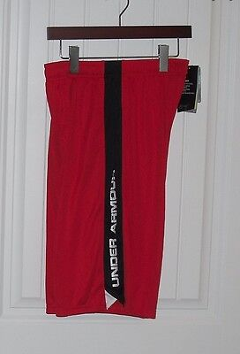 NWT Boys Under Armour Red & Black Silky Shorts - Size XL