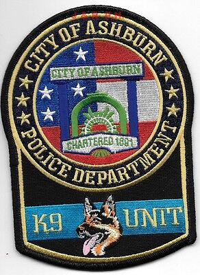 "Ashburn  K-9 Unit, Georgia (4"" x 5.5"" size) shoulder police patch (fire)"