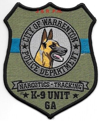 "Warrenton  K-9 / Narcotics, Georgia (4"" x 5"" size) shoulder police patch (fire)"