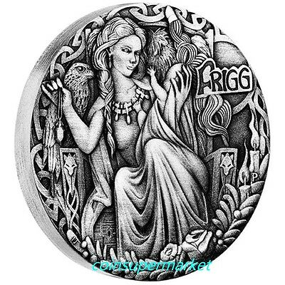 Australia 2017 Tuvalu Norse Goddesses Frigg 2oz Silver Antiqued High Relief Coin