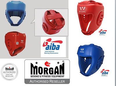 AIBA BOXING HEAD GUARD Amateur COMPETITION FIGHT RED BLUE SML WESING LEATHER NEW