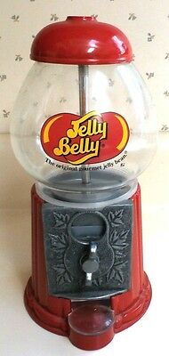 """Jelly Belly 9"""" Glass and Die Cast Metal Jelly Bean/Gum Dispenser Coin Bank"""