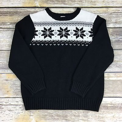Gymboree Boys 5/6 Black Ivory Pullover Sweater Snowflakes Holiday