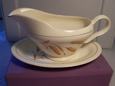 Edwin M. Knowles China GOLDEN WHEAT Gravy Boat with Matching Dish / Platter  (A)