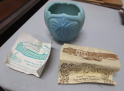 Van Briggle Pottery Blue/Green Butterfly Themed Small Bowl/Vase