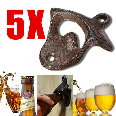 5x Rustic Style Cast Iron Wall Mounted Bottle Opener Top Man Cave Bar Beer Tool