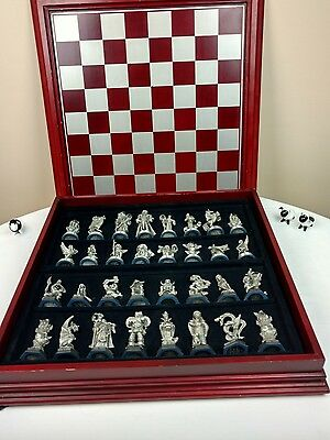 Danbury Mint Chess Set Fantasy of the Crystal Pewter Gothic