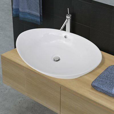 New Bathroom White Round Oval Above Counter Ceramic Basin Bowl Drain Hole Vanity