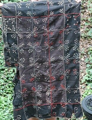 Antique Folk Art Embroidered Textile Quilt Date 1907 Central MN Homespun Backing