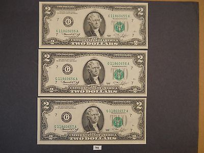 5 - 1976 $2 Dollar Federal Reserve Notes in Sequence  (MUST SEE)