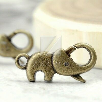 10pcs Antique Brass Lobster Claw Clasps DIY Jewelry Finding Elephant 23x16x4.5mm
