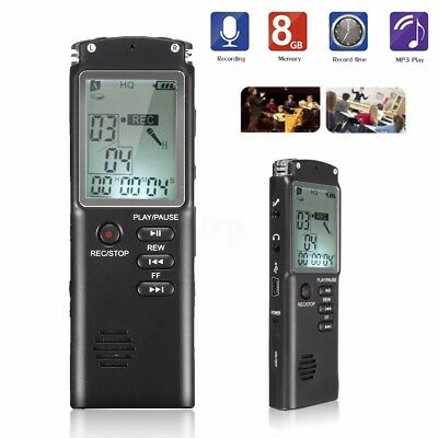 Digital Voice Recorder 8GB MP3 Player New USB Audio Rechargeable Dictaphone AU