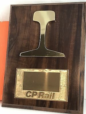 Canada Pacific rail award plaque wood and brass, no name, new vintage, plack
