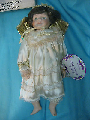"Porcelain Keepsake Doll Angel Gold Wings 15"" In Box Lot #2"