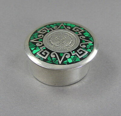 Vtg Taxco Sterling Silver & Malachite Inlay Pill or Trinket Box