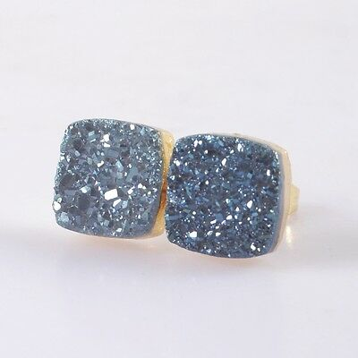 10mm Square Natural Agate Titanium Druzy Stud Earrings Gold Plated H91430