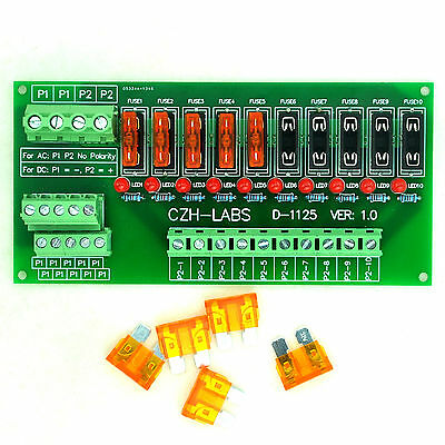 Panel Mount 10 Position Power Distribution Fuse Module Board, For AC/DC 5~32V