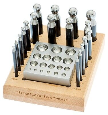 20pc DAPPING SET 18 PUNCHES & BLOCK FOR JEWELRY MAKING SILVERSMITH FORMING TOOLS