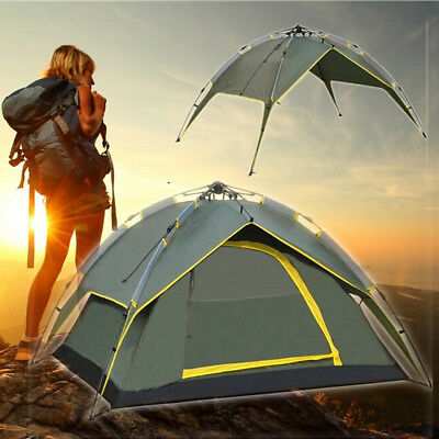 4 Person Double Layer Instant Pop Up Large Camping Tent Outdoor Dome Shelter AU