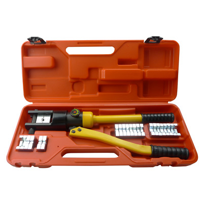 16 Ton Hydraulic Crimper Cable Lug Wire Force Crimping Tool Kit 12 Die 10-300mm