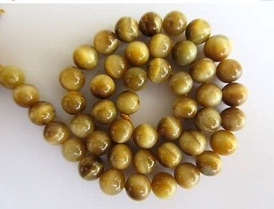 Yellow Cats Eye Large Hole Gemstone 8mm Smooth Round Beads 15 Inch Strand GDS566
