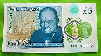 AA01 016220 polymer Five Pound note £5 VERY LOW SERIAL NUMBER UNCIRCULATED