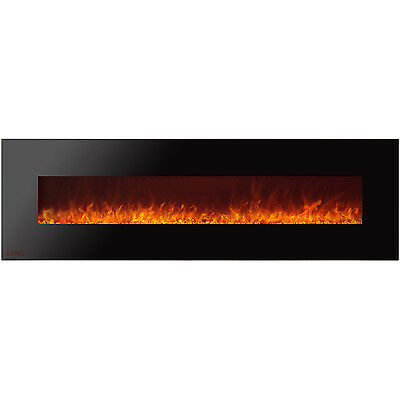 Ignis Royal 95 inch Wall Mount Electric Fireplace with Crystals