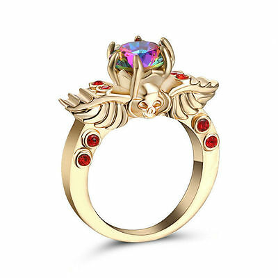 Goth Golden Topaz Rainbow Red Skull Ring Size 8 Replica Gothic Wings Alchemy