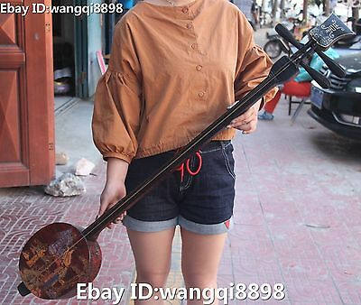 116CM Huge Chinese Wood lacquerware Ancient People Qin Musical Instrument Statue
