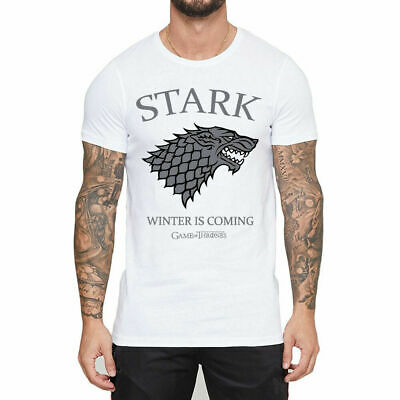 Game of Thrones Men's T-Shirt Ice Wolf Printed Tops White Cotton Short Sleeve