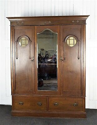 Antique Arts and Crafts large oak double wardrobe