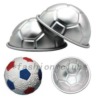 3D Football Cake Mold Pan Hemisphere Baking Decoration Kitchen DIY 2 Pcs New