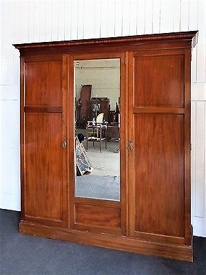 Antique Victorian large Mahogany inlaid triple wardrobe by Waring and Gillows