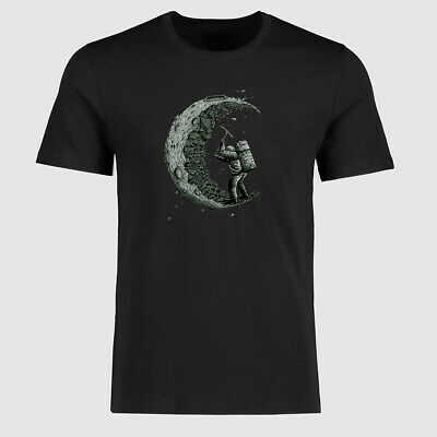 Digging the moon Funny Ringer T-Shirts Men's Cotton Short Sleeve tee shirts Tops