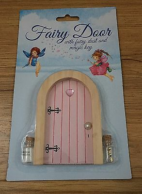 Bnib Pink Wooden Fairy Door With Fairy Dust And Magic Key