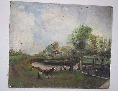Old Canal Oil Painting on Board - Signed