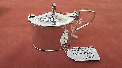 A Superb Solid Silver Edwardian Heavy Oval Mustard Pot Hallmarked Chester 1902