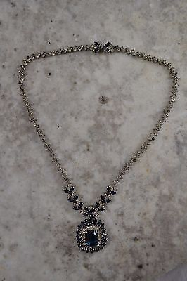 VINTAGE 1950s blue and clear paste necklace diamante rhinestone statement